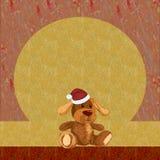 Предпосылка, ходы щетки, с щенком плюша в шляпе рождества Стоковое Фото
