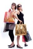 предпосылка ходя по магазинам 2 белых женщины Стоковая Фотография