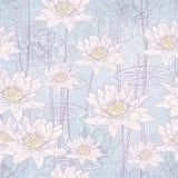 предпосылка цветет вода лилии безшовная Стоковые Фото