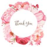 Предпосылка цветка акварели, флористическая рамка в розовом тоне Стоковое Изображение