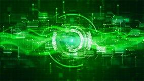 Предпосылка цифрового дисплея Высок-техника HUD голографическая Концепция технологии графиков движения иллюстрация вектора