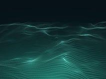 Предпосылка цифров с волнистой поверхностью футуристический ландшафт 3d с частицами Концепция вектора данным по звуковых войн Стоковая Фотография
