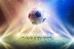 Предпосылка чашки 2018 футбола Футбол предпосылки чемпионата мира панорама стоковые фотографии rf