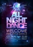 Предпосылка шарика диско Плакат танцев диско всю ночь на предпосылке открытого пространства Стоковые Изображения