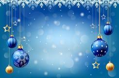 Предпосылка шарика счастливого рождества Нового Года идя снег, коробка входного сигнала текста, голубая предпосылка иллюстрация вектора