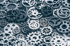Предпосылка шестерней и cogwheels металла Стоковая Фотография