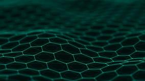 Предпосылка шестиугольника E Соединяясь точки и линии на темной предпосылке r 4K стоковая фотография rf