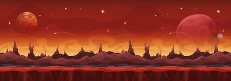 Предпосылка широкой научной фантастики фантазии марсианская для игры Ui Стоковая Фотография