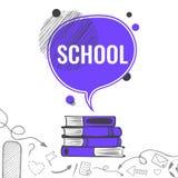 Предпосылка школы с фиолетовым пузырем речи Стоковое Изображение