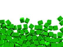 предпосылка 3d cubes зеленая белизна Стоковое Изображение