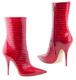 предпосылка boots женщины s белые Стоковая Фотография