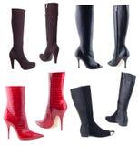 предпосылка boots женщины s белые Стоковые Изображения RF