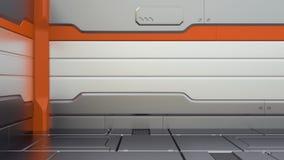 Предпосылка 3d коридора научной фантастики металлическая представить космический корабль интерьера иллюстрации шаржа смешной бесплатная иллюстрация
