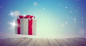 Предпосылка 3d-illustration зимы снега подарков на рождество деревянная бесплатная иллюстрация