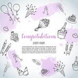 Предпосылка doodle вечеринки по случаю дня рождения Vector знамена шаблона для плаката, приглашения, рогульки, партии, свадьбы, б Стоковые Изображения RF
