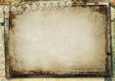 Предпосылка Grunge шикарная с старой карточкой Стоковая Фотография