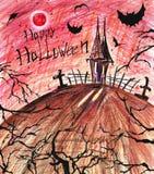 предпосылка halloween страшный Темный пугающий дом с летучими мышами и деревьями черноты иллюстрация вектора