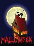 Предпосылка Halloween с домом, котом и луной Стоковое фото RF
