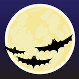 Предпосылка Halloween с луной и летучими мышами Стоковое Изображение