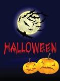 Предпосылка Halloween с луной и тыквами Стоковые Изображения