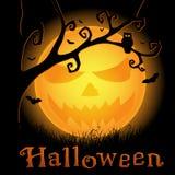 Предпосылка Halloween с страшный луной иллюстрация штока