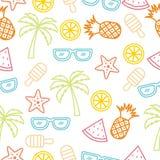 Предпосылка Handrawn красочного лета безшовная Стоковые Изображения