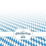 Предпосылка 2018 Oktoberfest с сине-белой checkered картиной иллюстрация штока