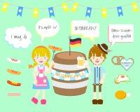 Предпосылка Oktoberfest установленная иллюстрация вектора