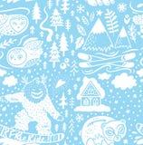 Предпосылка Snowy бесконечная лыжного курорта с шале, горами и животными леса r иллюстрация вектора