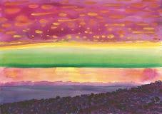 Предпосылка Watwrcolor над заходом солнца моря стоковая фотография