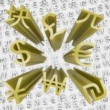 предпосылки валюты мухы золота дег символы вне иллюстрация вектора