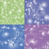 4 предпосылки другого цвета с ярким блеском и картинами иллюстрация штока
