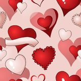Предпосылки картины вектора сердец валентинок краска ткани безшовной повторяющийся иллюстрация штока