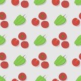 Предпосылки картины томатов дизайн органический, здоровая вегетарианская иллюстрация стиля цвета безшовной плоский вектора Стоковая Фотография RF