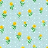 Предпосылки точки польки розы желтого цвета картина цифровой бумажной безшовная Стоковые Изображения RF