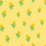 Предпосылки точки польки розы желтого цвета картина цифровой бумажной безшовная Стоковое Фото