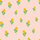 Предпосылки точки польки розы желтого цвета картина цифровой бумажной безшовная Стоковые Фотографии RF