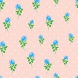 Предпосылки точки польки розы сини картина цифровой бумажной безшовная Стоковая Фотография RF