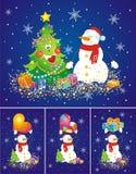 предпосылки установили снеговики Стоковая Фотография RF