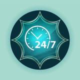 24/7 предпосылок волшебной стекловидной sunburst голубой кнопки значка часов небесно-голубых стоковое изображение