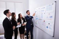 Предприниматели анализируя диаграммы на белой доске стоковая фотография