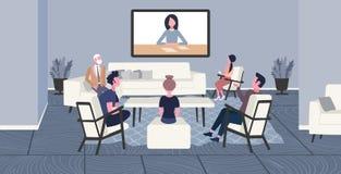 Предприниматели делая коллег видео конференц-связи имея онлайн работников офиса концепции конференции сети деловой встречи бесплатная иллюстрация