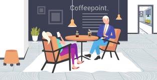 Предприниматели используя смартфоны во время корпоративных сотрудников женщины бизнесмена перерыва сидя пункт кофе таблицы кафа иллюстрация вектора