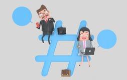 Предприниматели над символом интернета hashtag иллюстрация 3d бесплатная иллюстрация