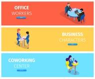 Предприниматели на наборе знамени ситуаций деятельности иллюстрация штока