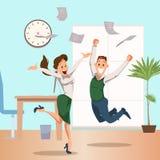 Предприниматели объединяются в команду скакать празднующ победу иллюстрация вектора
