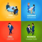 Предприниматели работая процесс в наборе офиса иллюстрация штока