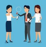 Предприниматели с данными по и лупой документа иллюстрация штока