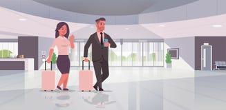 Предприниматели с положением пар багажа на лобби чемодана удерживания женщины бизнесмена приемной современном иллюстрация вектора