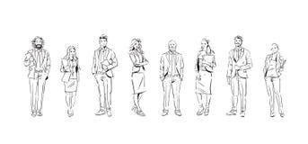 Предприниматели эскиза объединяются в команду пребывание на белой предпосылке, команде успешных исполнительных властей, полнометр иллюстрация штока